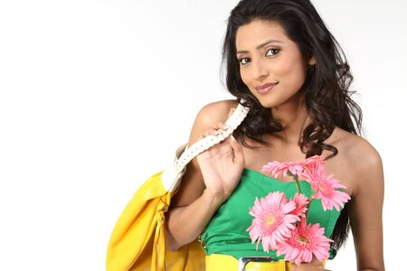 black hair young woman with pink daisy flowers photo