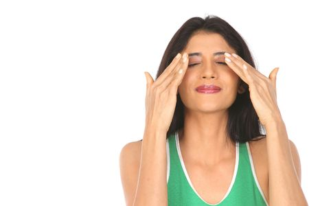 shutting: girl shutting her eyes with both her hands Stock Photo