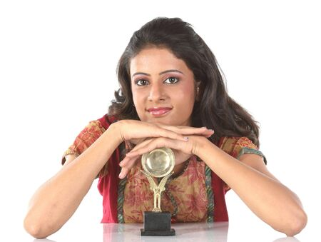 Indian college girl with trophy Stock Photo - 6400583