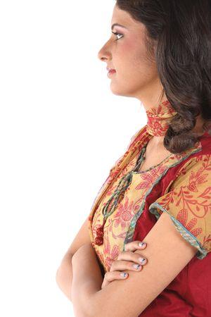 sidewards: Indian teenage girl facing sidewards