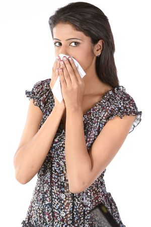 catarrh: Indian teenage girl with health cautious