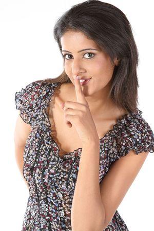 company secrets: Asia donna utilizzare mano Signal Language a Tell You mantenere abbastanza