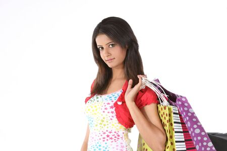 sexy asian woman: Indian teenage girl returning with shopping bags Stock Photo