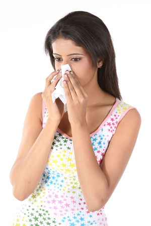cold and flu: Beautiful girl with severe cold