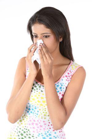 resfriado: Hermosa chica con fr�o grave  Foto de archivo