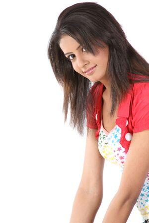 Indian teenage girl with red jacket photo