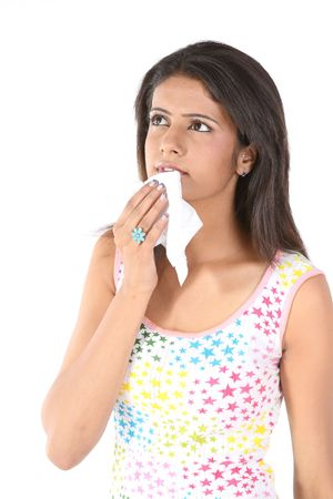 catarrh: Indian teenage girl with tissue paper