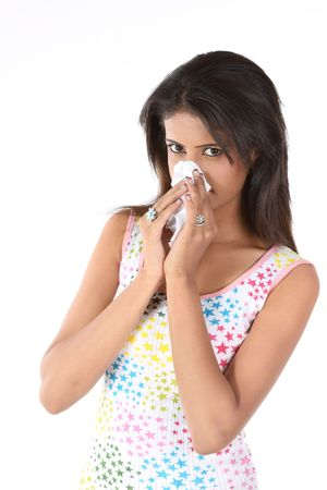 catarrh:   Beautiful girl with severe cold Stock Photo