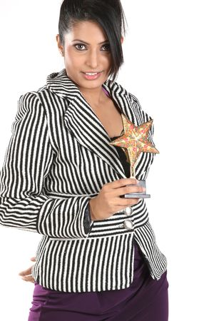 business woman with star trophy photo