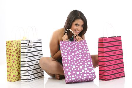 Indian woman with shopping bags photo