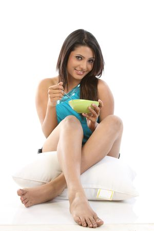 indian meal:  Indian sexy girl with bowl of breakfast