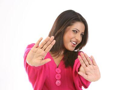 Teenage girl in avoiding action Stock Photo - 6539370