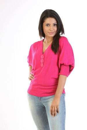 teenage girl in beautiful pink tops dress and jeans Stock Photo - 6570760
