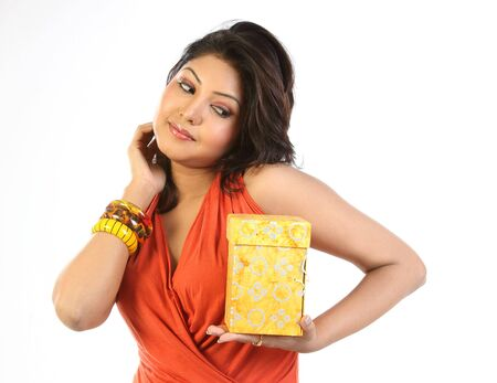 Woman happy with gift box photo