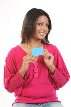 Indian womanl with blue blank  card photo
