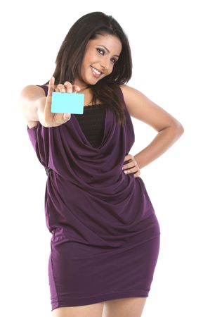 membership: Indian girl with blue blank credit card