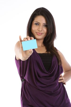 Teenage girl showing the blue blank credit card photo