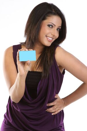 Stylish girl with blue credit card photo
