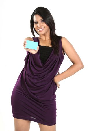 Beautiful woman with blue blank credit card photo