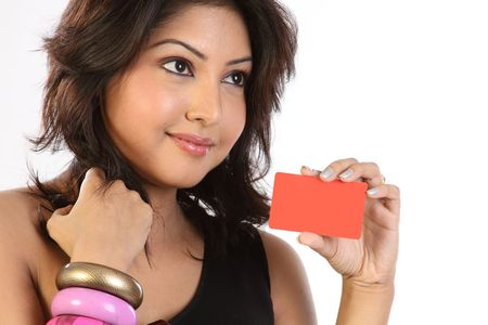 indian money: Stylish woman with credit card Stock Photo