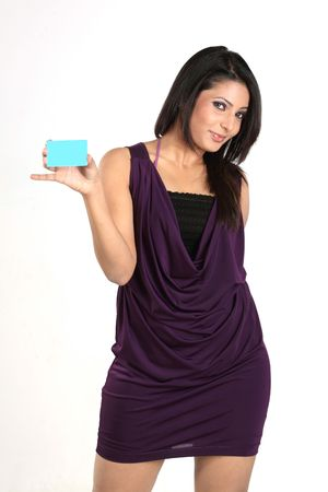 Indian girl with blue blank credit card photo