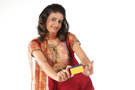 Indian teenage girl showing her  credit card photo