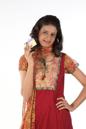 Young woman with credit card photo