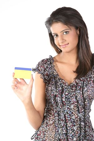 Young girl holding credit card Stock Photo - 6609628