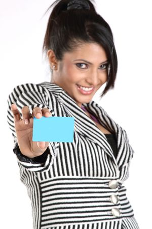 Closeup of businesswoman with blue credit card photo