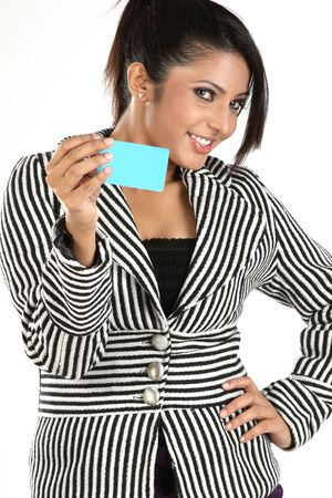 woman with blue credit card photo