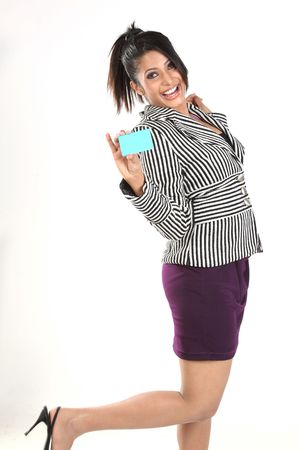 Indian businesswoman with credit card photo
