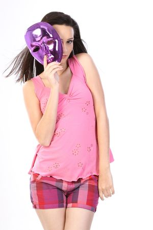 theatrical: Beautiful girl with the mask Stock Photo