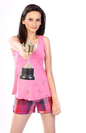 Indian woman with gold trophy Stock Photo - 6600866