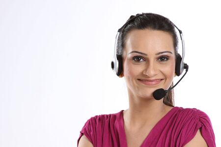 Indian woman with headphones photo
