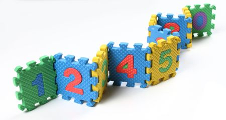 Number puzzles arranged in a row photo
