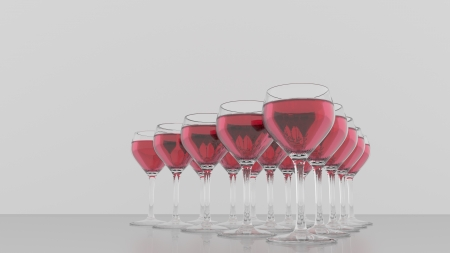 Triangle of wineglasses - rose - front view