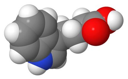 alargamiento: Hormona vegetal - Auxinas - indol-3-but�rico IBA - spacefill modelo molecular