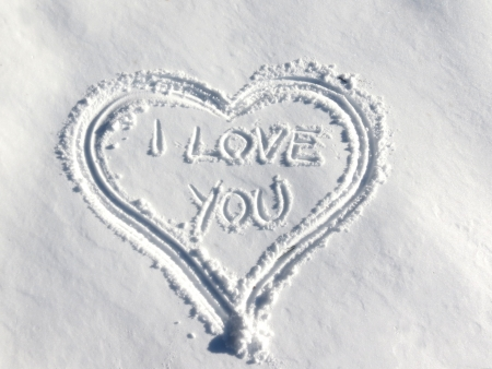 Heart shape in snow - I love you photo
