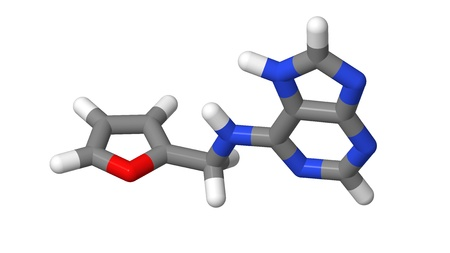 elongacion: Hormona vegetal - Las citoquininas - Kinetin - palos modelo molecular Foto de archivo