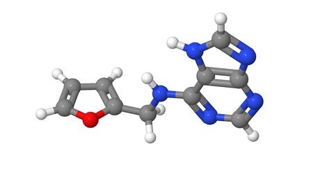 alargamiento: Hormona vegetal - Las citoquininas - Kinetin - modelo molecular