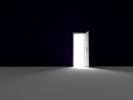 open gate: Into the Light - 3D rendered  Stock Photo