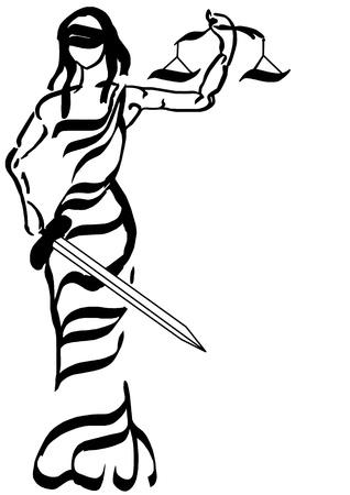 derecho romano: Se�ora de la justicia - la caligraf�a drenaje aislado en blanco
