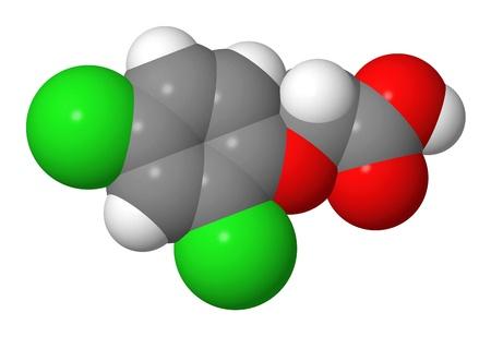elongacion: Hormona vegetal - auxinas sint�ticas - 2-4-D - spacefill modelo molecular Foto de archivo