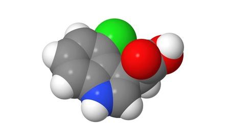 alargamiento: Hormona de la planta - Auxinas - 4-cloroindol-3-�cido ac �tico - 4-Cl-IAA - spacefill modelo molecular
