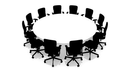 Round table with chairs - front view - 3D rendered photo