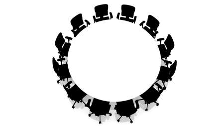 Round table with chairs - top view Stock Photo