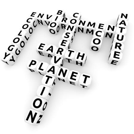 Dices - bio, eco, nature crossword  3D rendered  photo