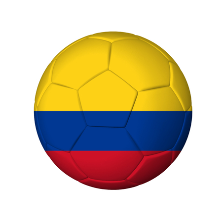 Soccer football ball with Colombia flag  Isolated on white