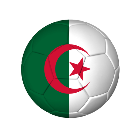 Soccer football ball with Algeria flag  Isolated on white  Stock Photo - 24945768