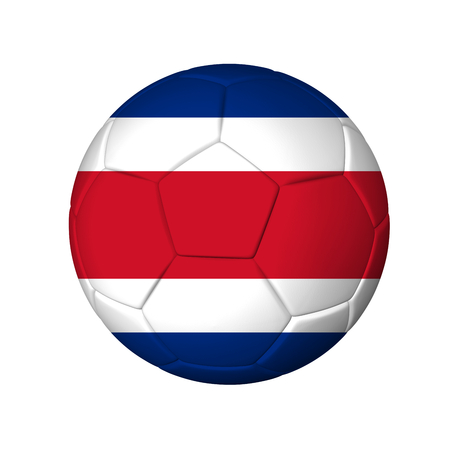 Soccer football ball with Costa Rica flag  Isolated on white